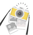 hanging vintage camera with photo on isolate vector image vector image