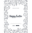 happy easter background with traditional sketches vector image vector image