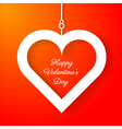 Heart applique on orange background vector image