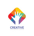 human hand - logo template concept vector image