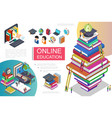 isometric online learning template vector image