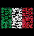 italian flag collage of handshake icons vector image