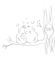 Loving couple elephants on a branch of a large vector image vector image