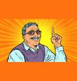 man aged index finger up vector image vector image