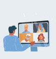 man have conference online vector image vector image
