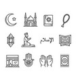 muslim religion holy culture outline icons vector image vector image