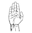 open hand gesture on white background vector image vector image