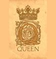 ornate letter q with crown vintage monogram vector image