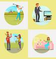 people enjoying their hobbies flat vector image vector image