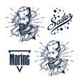 sailor man hand draw vector image vector image