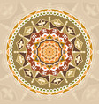 seamless pattern circle with mandalas vintage vector image