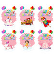 set of cute birthday icon vector image vector image