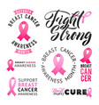 set of labels breast cancer awareness vector image