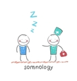 somnology come to a patient who is sleeping vector image vector image