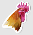 sticker head rooster in pop art geometry vector image vector image