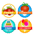 Strawberries - Ice Cream - Cake Strawberry in Milk vector image vector image