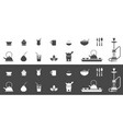 tea cups and kettles icons vector image