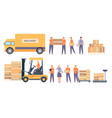 warehouse workers and equipment flat delivery man vector image
