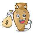 with money bag amphora character cartoon style vector image vector image