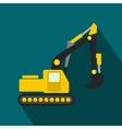 Yellow excavator flat icon vector image
