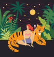 young woman and big tiger vector image