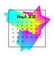 2020 calendar design abstract concept march 2020 vector image vector image