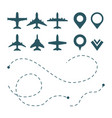 airplane symbols avia transport pictograms route vector image vector image