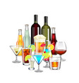 Alcohol drinks and cocktails composition isolated vector image vector image
