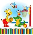 animals play basketball vector image vector image