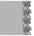 black flower lace border on white background vector image