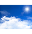 Blue sky with clouds and sun background vector image vector image