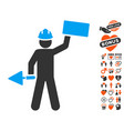 builder with brick icon with dating bonus vector image