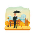 businessman character person with an umbrella in vector image