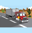 cartoon of big truck vector image vector image