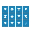 Champions cup icons on blue background vector image
