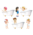 Children taking a bath vector image vector image