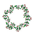 christmas circle borders wreaths frames hand draw vector image