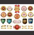collection golden badges labels laurels shield vector image