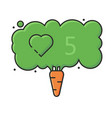 concept vegan carrot and social network like icon vector image vector image