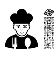 Cook Flat Icon With Bonus vector image