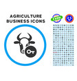 cow key rounded icon with set vector image