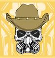 cowboy skull wearing respiration vector image vector image