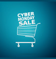 cyber monday sale shopping cart flat icon vector image vector image
