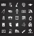 education and stydying set on black background vector image