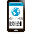 electronic boarding pass on smartphone screen vector image vector image