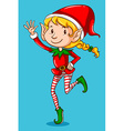 Female elf on blue background vector image