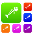fish bone set color collection vector image