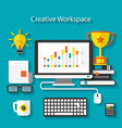 Flat icons of trendy business objects with long vector image vector image