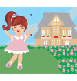 girl runs away from mosquitoes vector image vector image