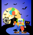 halloween background with clown and full moon vector image vector image